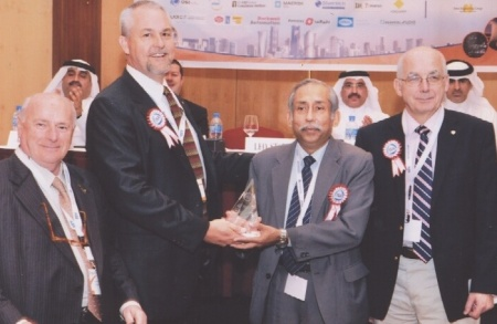 Nilangshu Dey receiving his award from left Pino Zani, Leo Staples,  Nilangshu Dey and Jean-Pierre Hauet