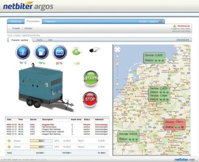 Typical web dashboard from which a power generator can be monitored and even started or stopped remotely.