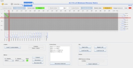 Figure 3. The soft front panel of the 65-110 can be accessed through the LXI configuration pages to either control or monitor the matrix settings. The LXI controller presents the matrix as a single entity, greatly simplifying the user understanding of the setting