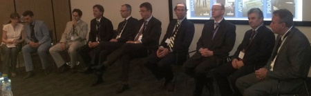 The speakers assembled for the final Q&A session